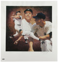 "Baseball Collectibles:Others, Mickey Mantle Signed Lithographs Lot of 2. While each of thisattractive pair of 22x24"" Mickey Mantle lithos sports the glor..."