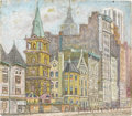 Fine Art - Painting, European:Other , KRALICEK (Twentieth Century). City Street. Unknown media (possibly mixed media with oil) on masonite. 14in. x 16in.. Sig... (Total: 1 Item)