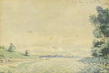 Fine Art - Painting, European:Other , CONTINENTAL SCHOOL (Twentieth Century). Danube near Vienna,1900. Watercolor on paper. 5-1/4in. x 7-1/2in.. Initialed at...(Total: 1 Item)
