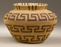 Native American:Pottery and Baskets, Kawaiisu Coiled Bottleneck Basket. Circa 1900. Height 5 1/2 in.Diameter 7 1/2 in.. This tightly coiled jar has flaring si...