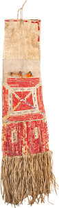American Indian Art:Beadwork and Quillwork, A SIOUX QUILLED HIDE TOBACCO BAG. c. 1910...