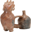 Antiques:Antiquities, Male Figure with Vessel Attached by a Strap...