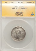 Standing Liberty Quarters: , 1917 25C Type One--Cleaned--ANACS. AU50 Details. NGC Census: (28/1295). PCGS Population (41/2017). Mintage: 8,740,000. Numi...