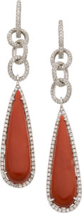 Estate Jewelry:Earrings, Coral, Diamond, White Gold Earrings. ...