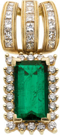 Estate Jewelry:Pendants and Lockets, Emerald, Diamond, Gold Slide. ...