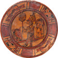 Antiques:Antiquities, Maya Plate with Ruler Holding Fan...