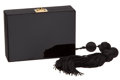Luxury Accessories:Bags, Chanel Black Lucite and Black Satin Hard Clutch with Tassel . ...