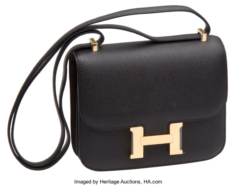 456aabe2e375 Hermes Black Epsom Leather 18cm Constance Bag with Gold