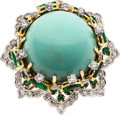 Estate Jewelry:Rings, Turquoise, Diamond, Emerald, Gold Ring. ...
