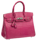 Luxury Accessories:Bags, Hermes 30cm Shiny Fuchsia Porosus Crocodile Birkin Bag withPalladium Hardware. ...