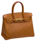 Luxury Accessories:Bags, Hermes 30cm Gold Ostrich Birkin Bag with Gold Hardware. ...