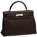 Luxury Accessories:Bags, Hermes 32cm Chocolate Clemence Leather Kelly Bag with PalladiumHardware. ...