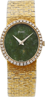 Piaget Lady's Diamond, Jade, Gold Integral Bracelet Wristwatch