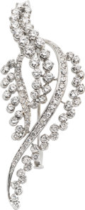 Estate Jewelry:Brooches - Pins, Diamond, White Gold Brooch, circa 1950. ...