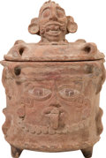 Antiques:Antiquities, Maya Cache Vessel with Human Heads... (Total: 2 Items)