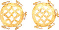 Antiques:Antiquities, Circular Gold Earrings with Spider Monkeys... (Total: 2 Items)