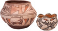 American Indian Art:Pottery, TWO ZUNI POLYCHROME JARS. c. 1945 and 1910... (Total: 2 Items)