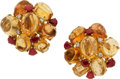 Estate Jewelry:Earrings, Imperial Topaz, Ruby, Diamond, Gold Earrings. ... (Total: 2 Pieces)