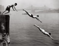 Photographs, ARTHUR LEIPZIG (American, b. 1918). Divers, East River, 1948. Gelatin silver, printed later. Paper: 16 x 20 inches (40.6...