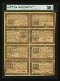 Colonial Notes:Pennsylvania, Pennsylvania March 16, 1785 Complete Sheet 3d, 9d, 18d, 2s6d, 5s,10s, 15s, and 20s PMG Choice About Unc 58 EPQ.. ...