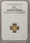 California Fractional Gold, 1854 $1 Liberty Octagonal 1 Dollar, BG-532, Low R.4, MS61 NGC....