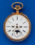 Timepieces:Pocket (post 1900), Swiss 50 mm 18k Gold Digital Dial Moon Phase Calendar For Restoration. ...