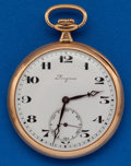 Timepieces:Pocket (post 1900), Longines 14k Gold 12 Size Pocket Watch. ...