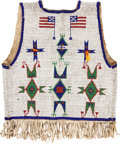 American Indian Art:Beadwork and Quillwork, A SIOUX BEADED HIDE VEST . c. 1890...