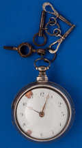 Timepieces:Pocket (post 1900), Swiss Verge Fusee 57 mm Silver Pair Case Parts Watch. ...