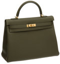 Luxury Accessories:Bags, Hermes 35cm Vert Veronese Clemence Leather Kelly Bag with GoldHardware. ...
