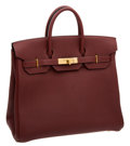 Luxury Accessories:Bags, Hermes 32cm Prune Fjord Leather HAC Birkin Bag with Gold Hardware....