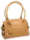 Luxury Accessories:Bags, CeCe Cord Beige Ostrich Equestrian Signature Horseshoe Charm Bag....
