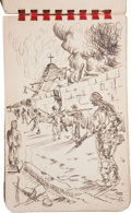 Military & Patriotic:WWII, Collection of Thirty-One World War II Original Pencil and Ink Drawings of the American Invasion of Leyte in the Philippines by...
