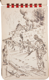 Collection of Thirty-One World War II Original Pencil and Ink Drawings of the American Invasion of Leyte in the Philippi...