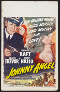 "Movie Posters:Crime, Johnny Angel (RKO, 1945). Autographed Window Card (14"" X 22"").Crime.. ..."