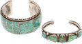 American Indian Art:Jewelry and Silverwork, TWO SOUTHWEST SILVER AND TURQUOISE BRACELETS. c. 1940 - 1950...(Total: 2 Items)