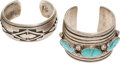American Indian Art:Jewelry and Silverwork, TWO NAVAJO SILVER CUFF BRACELETS. c. 1950 - 1960... (Total: 2Items)