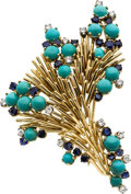 Estate Jewelry:Brooches - Pins, Turquoise, Sapphire, Diamond, Gold Clip-Brooch. ...