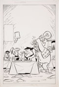 Original Comic Art:Covers, Jose Recreo Ferrer The Flintstones Cover Original Art(Charlton, c. 1976)....