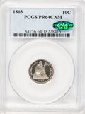 Proof Seated Dimes, 1863 10C PR64 Cameo PCGS. CAC....