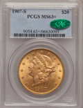 Liberty Double Eagles, 1907-S $20 MS63+ PCGS. CAC....