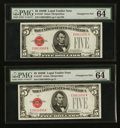 Small Size:Legal Tender Notes, Fr. 1527 $5 1928B/1928B Mule Legal Tender Notes. Changeover Pair. PMG Choice Uncirculated 64 EPQ.. ... (Total: 2 notes)