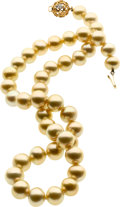 Estate Jewelry:Pearls, Golden South Sea Cultured Pearl, Diamond, Gold Necklace. ...