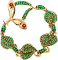Estate Jewelry:Bracelets, Tsavorite Garnet, Tourmaline, Colored Diamond, Gold Bracelet, DonnaPizarro. ...