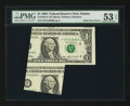 Error Notes:Foldovers, Fr. 1918-F $1 1993 Federal Reserve Note. PMG About Uncirculated 53EPQ.. ...