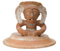 Antiques:Antiquities, Maya Urn Lid with Seated Deity...