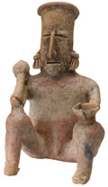 Antiques:Antiquities, Jalisco Seated Male Holding Club and Bowl...