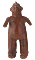 "Antiques:Antiquities, Colima Female Shaman Figure. Colima. Ça 200 BC-200 AD. Slippedceramic. 17¾"" High x 9½"" Wide. The horn in her headdres..."