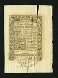 Colonial Notes:Rhode Island, Rhode Island May 1786 40s New. What would otherwise be a lovely gemfrom this final issue is severely downgraded due to a lo...