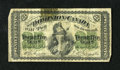 Canadian Currency: , DC-1c 25¢ 1870.. Adhesive residue has made a patch of this notetranslucent at top center. Very Good....